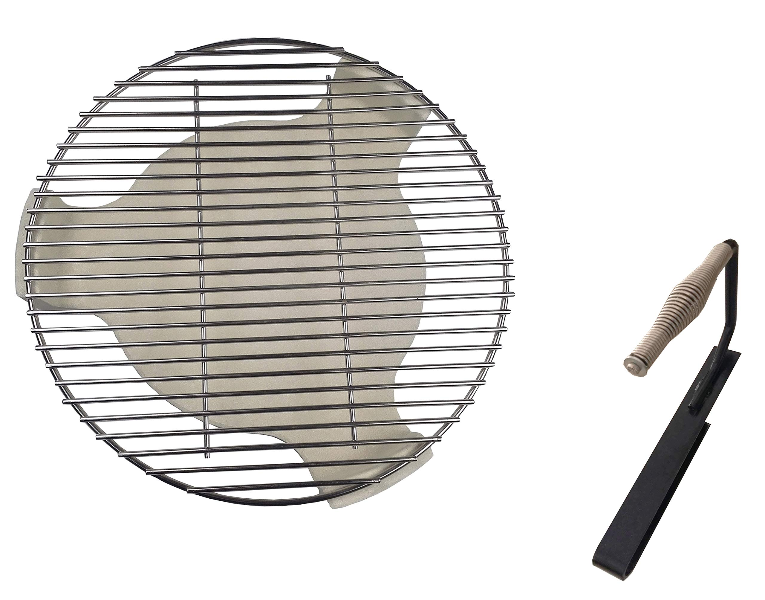 soldbbq Ceramic Plate Setter, Heat Deflector & Stainless Steel Charcoal Fire Grate Fit for 18'' Dia Grill,Large - Big Green Egg, with 1 Handle Lifter by soldbbq