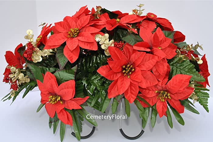 Amazon.com: Red Poinsettia Headstone Saddle Decoration for Cemetery ...