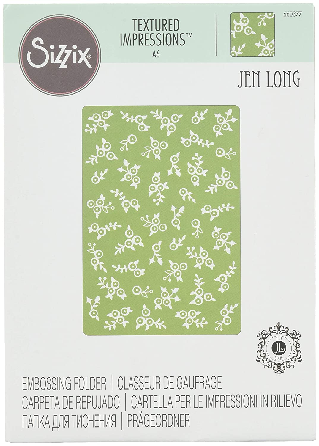 Sizzix 660377 Textured Impressions Embossing Folder Lovely Flowers by Jen Long