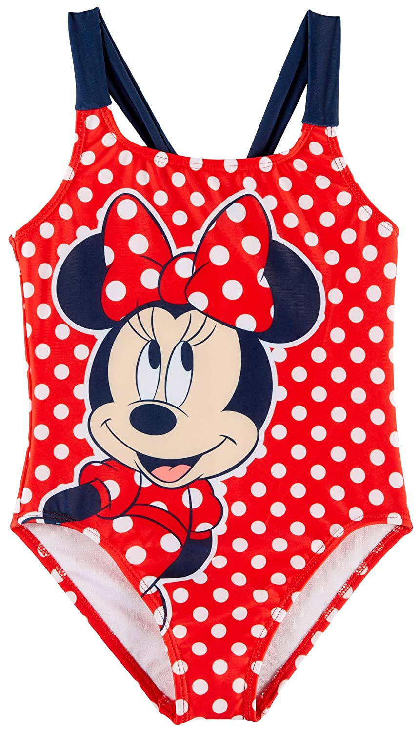 Disney Minnie Mouse Little Girls Dots Swimsuit Red//White//Black