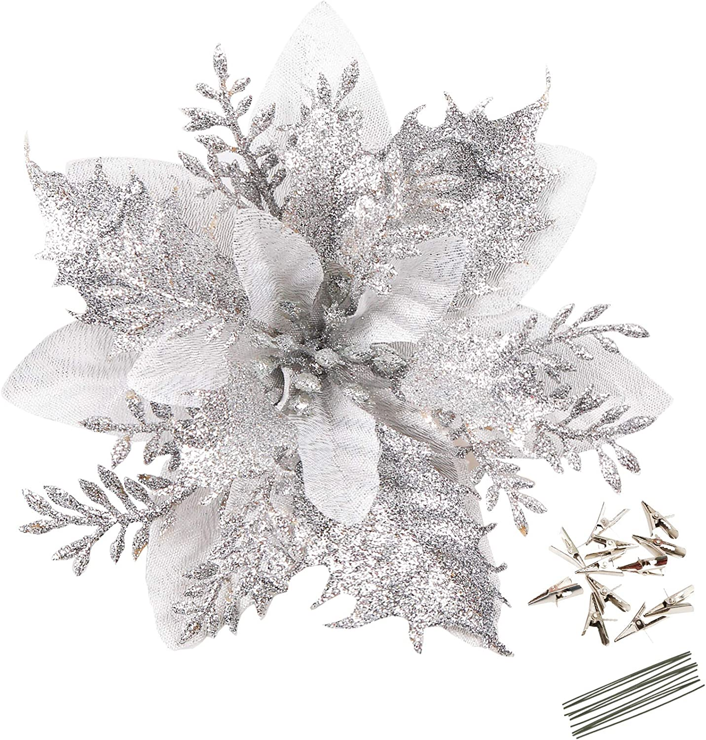 Greentime 12 Pcs 14cm / 5.5in Silver Poinsettia Artificial Christmas Flowers with Clips and Stems Glitter Christmas Tree Poinsettia Decorations for Thanksgiving Xmas Wedding Party Wreath