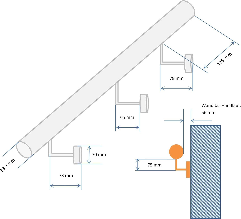 Edelstahl Handlauf V2A 33,7mm 240K geschliffen Wandhandlauf mit leicht gew/ölbter Endkappe  1000 mm