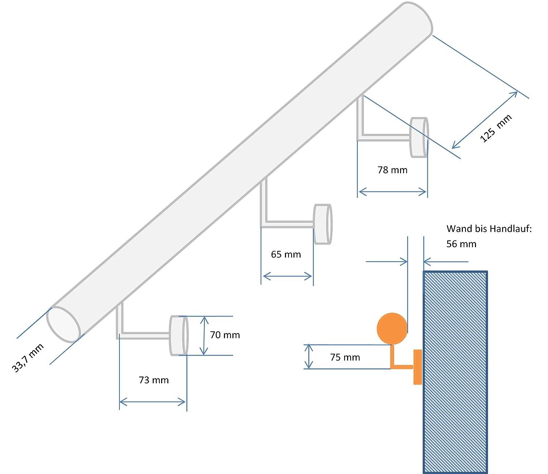 Edelstahl Handlauf V2A 42,4mm 240K geschliffen Wandhandlauf mit gerader Endkappe 600 mm UNGETEILT