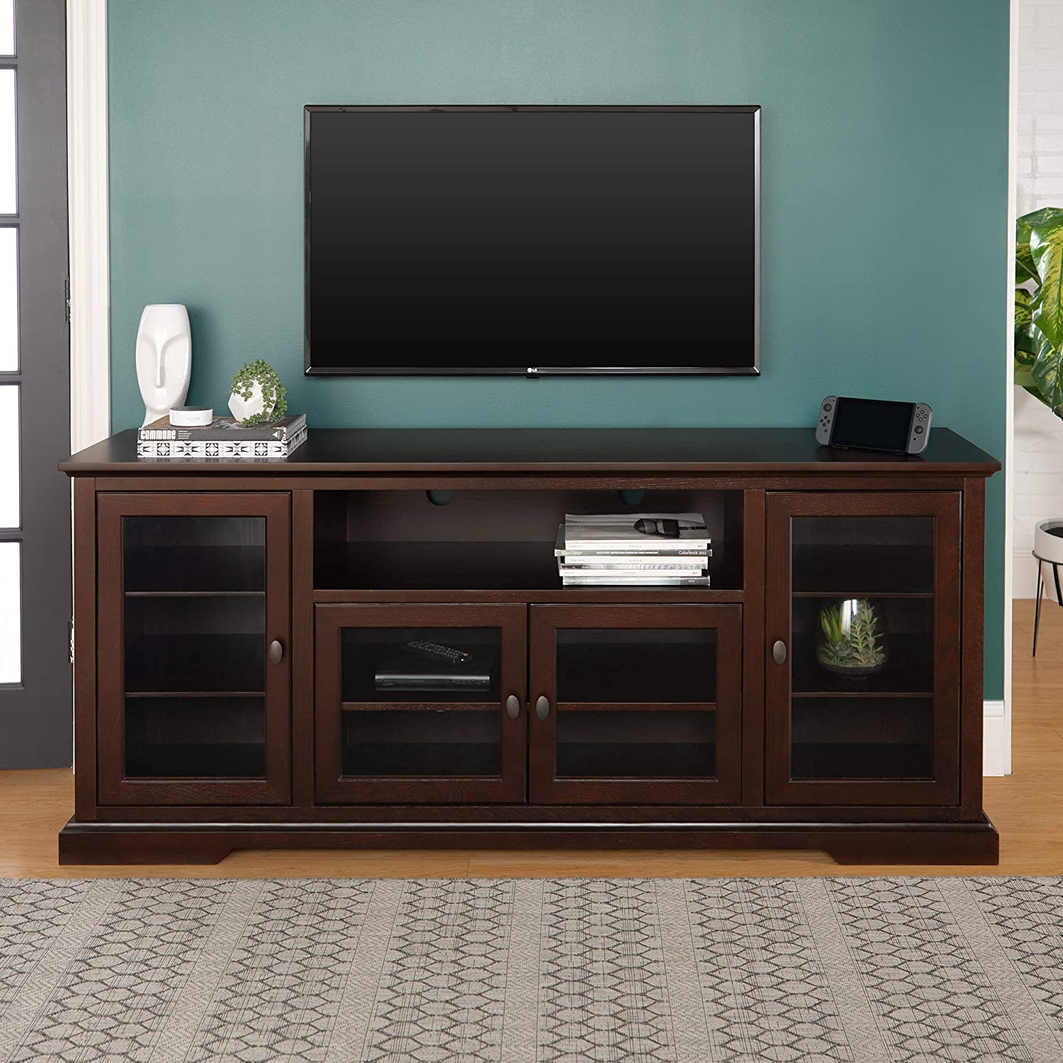 Amazon Com Walker Edison Concord Classic Glass Door Storage Tv Console For Tvs Up To 80 Inches 70 Inch Espresso Brown Furniture Decor