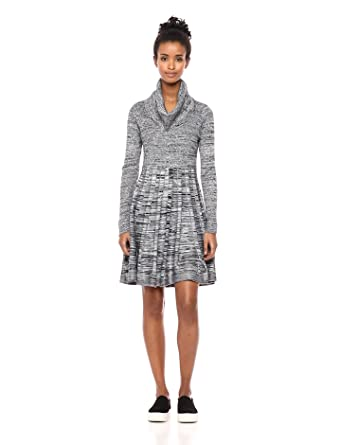 defcddfd69 Calvin Klein Women s Long-Sleeve Cowl-Neck Fit   Flare Sweater Dress ...
