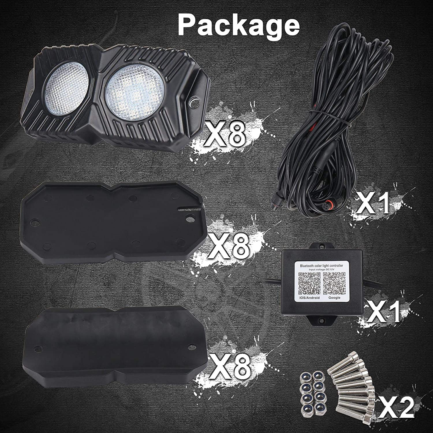 MOVOTOR RGB LED Rock Lights Multicolor Neon LED Light Kit with Timing Music Mode for Underglow Off Road Truck JEEP UTV ATV Boat-8 Pods