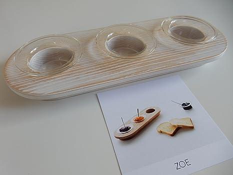Vassoi In Legno Con Vetro : Porta salse zoe con coppette in vetro vassoio in legno colore