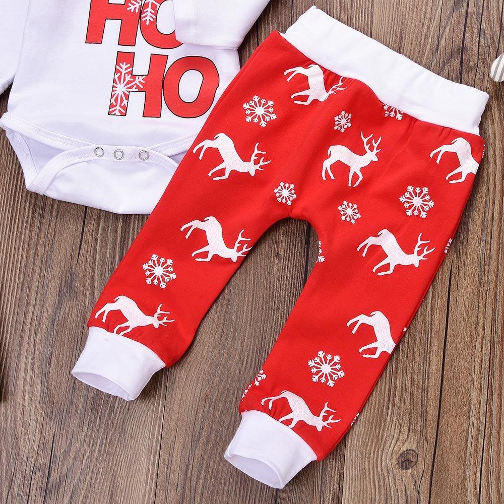 Christmas Newborn Baby Romper Letters Print Tops+Deer Pants+Hat Outfits Set
