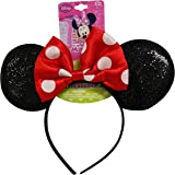 Genuine UPD Minnie Mouse Sparkled Ear Shaped Headband with Red Bow Disney Official Licensed (1 piece)