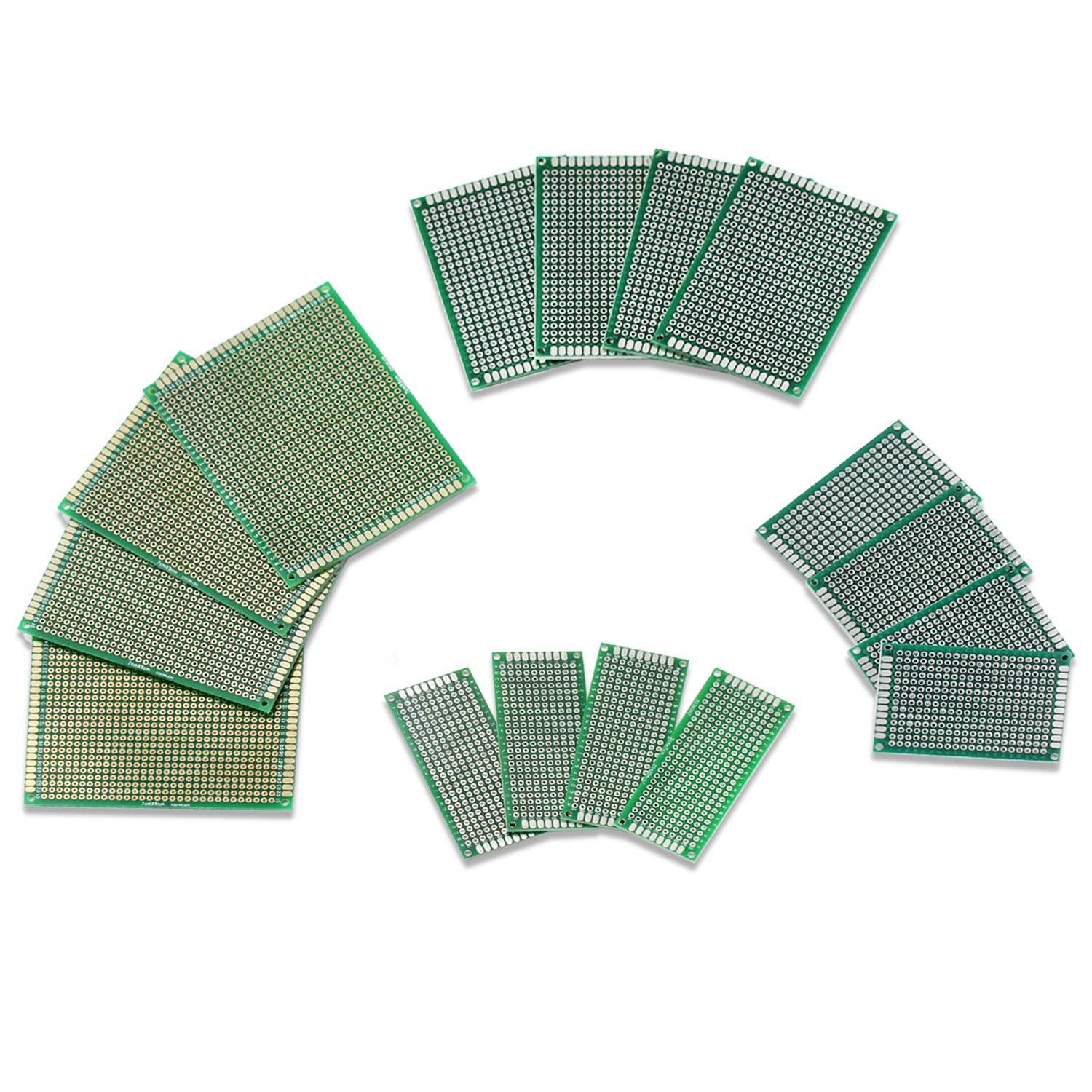 Ocr ® 16PCS PCB Board Universal Double Sided Prototyping Breadboard Panel Multiple Sizes Ocrtech