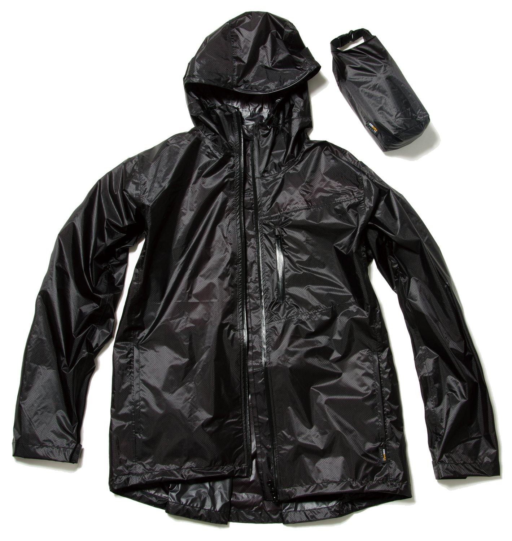 マック UL レインジャケット 全3色 3サイズ 2層レイヤー 収納袋付き フード着脱式 ブラック AS-30 B06XHQ96MZLL