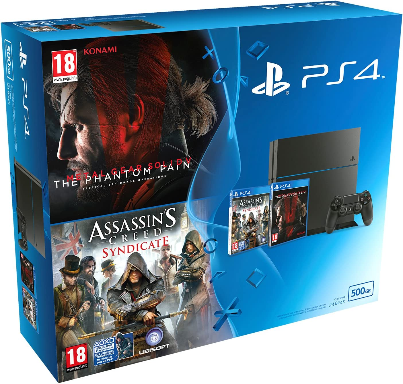 PlayStation 4 (PS4) - Consola 500 GB + Metal Gear Solid V: The Phantom Pain + Assassins Creed: Syndicate: Amazon.es: Videojuegos
