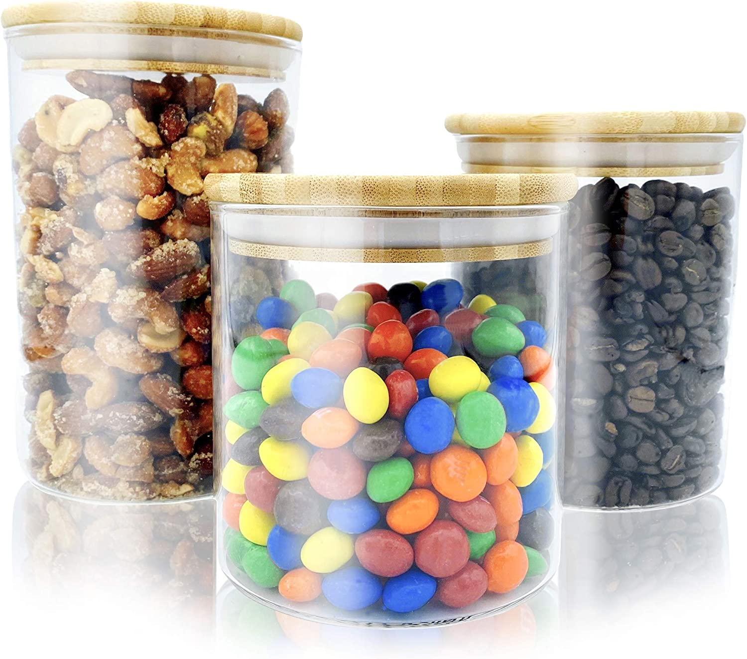 Bambooware Glass Storage Containers with Lids | Kitchen Organization | Pantry Organization - Set of 3 Canisters - Airtight Glass Jars Wooden Lid for Sugar, Flour, Candy, Cookies, Rice, Pasta, Spices
