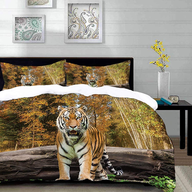 ropa de cama - Juego de funda nórdica, Safari, tigre en el bosque de pie y mirando a la cámara Imagen de hábitat de bestia asiática, rubor, juego de funda nórdica de microfibra con 2 fundas de almohad