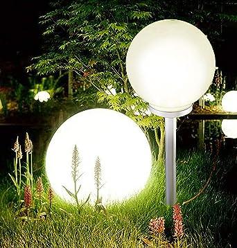 Bola de estado de ánimo gigante con luz LED solar para jardín, luz blanca cálida, 25 cm Diameter: Amazon.es: Iluminación