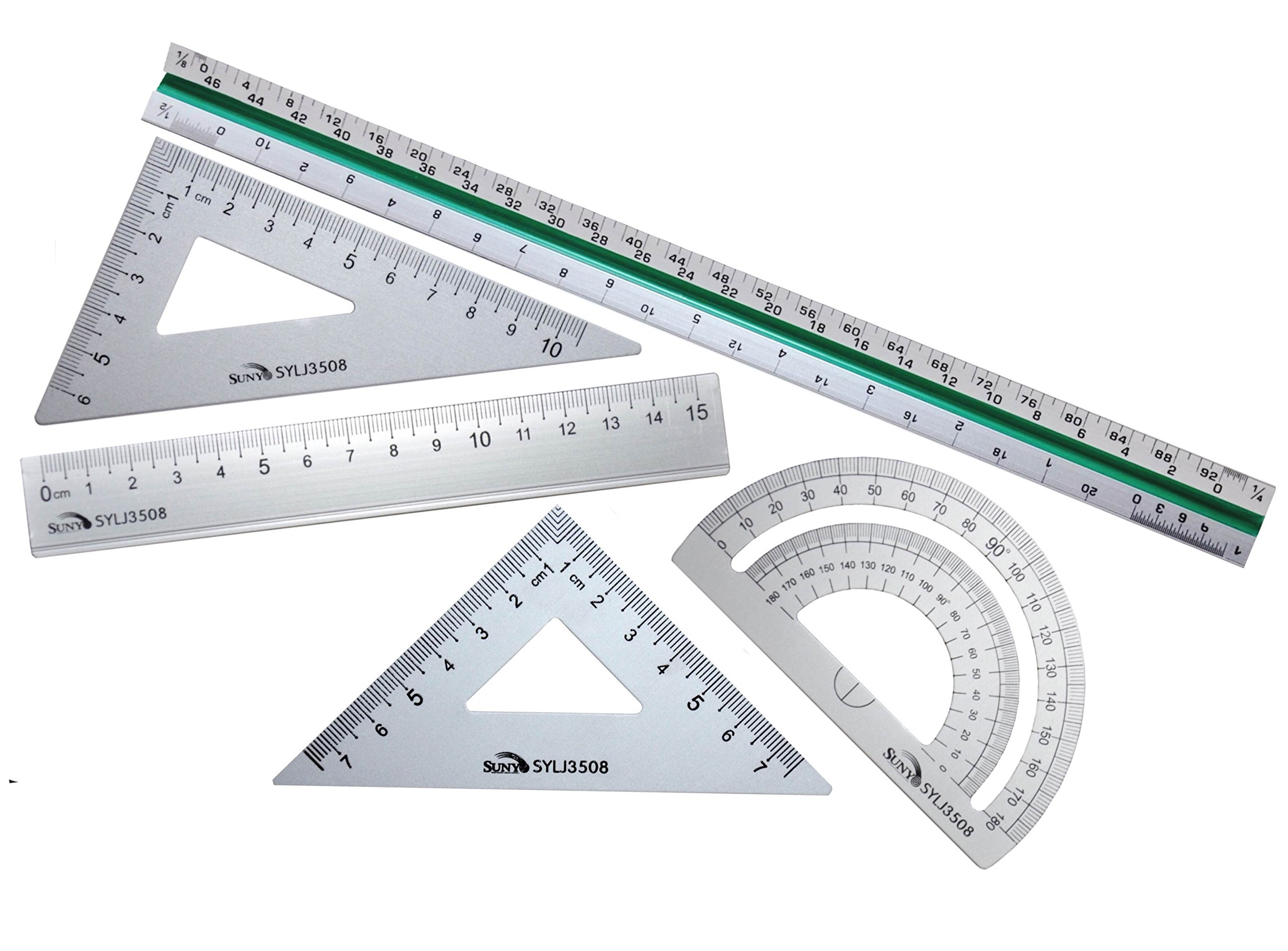 Taiga Now - 5-Pc, 12'' Aluminum Triangular Architect Scale Ruler Set - Premium Aluminum Scale Ruler with 4-Pc Aluminum Triangle Ruler Square Set, Great for Architects, Engineers, Students and More