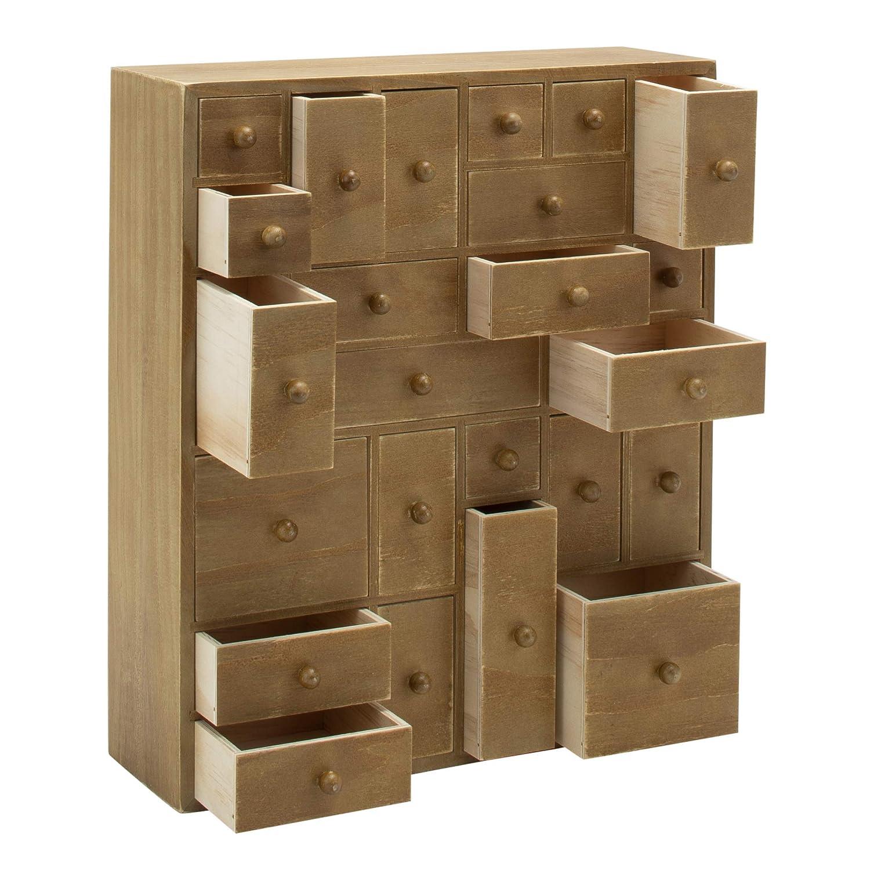 HYGGEHAUS Rustic Jewelry and Makeup Organizer - Countertop Storage    Apothecary Cabinet   Storage Drawers   Craft Organizer   Handmade Wooden  Cabinet
