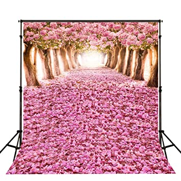 5x7 Feet Photography Backgrounds Cherry Blossoms Street Photo Backdrop Flower Sakura Road Studio Background