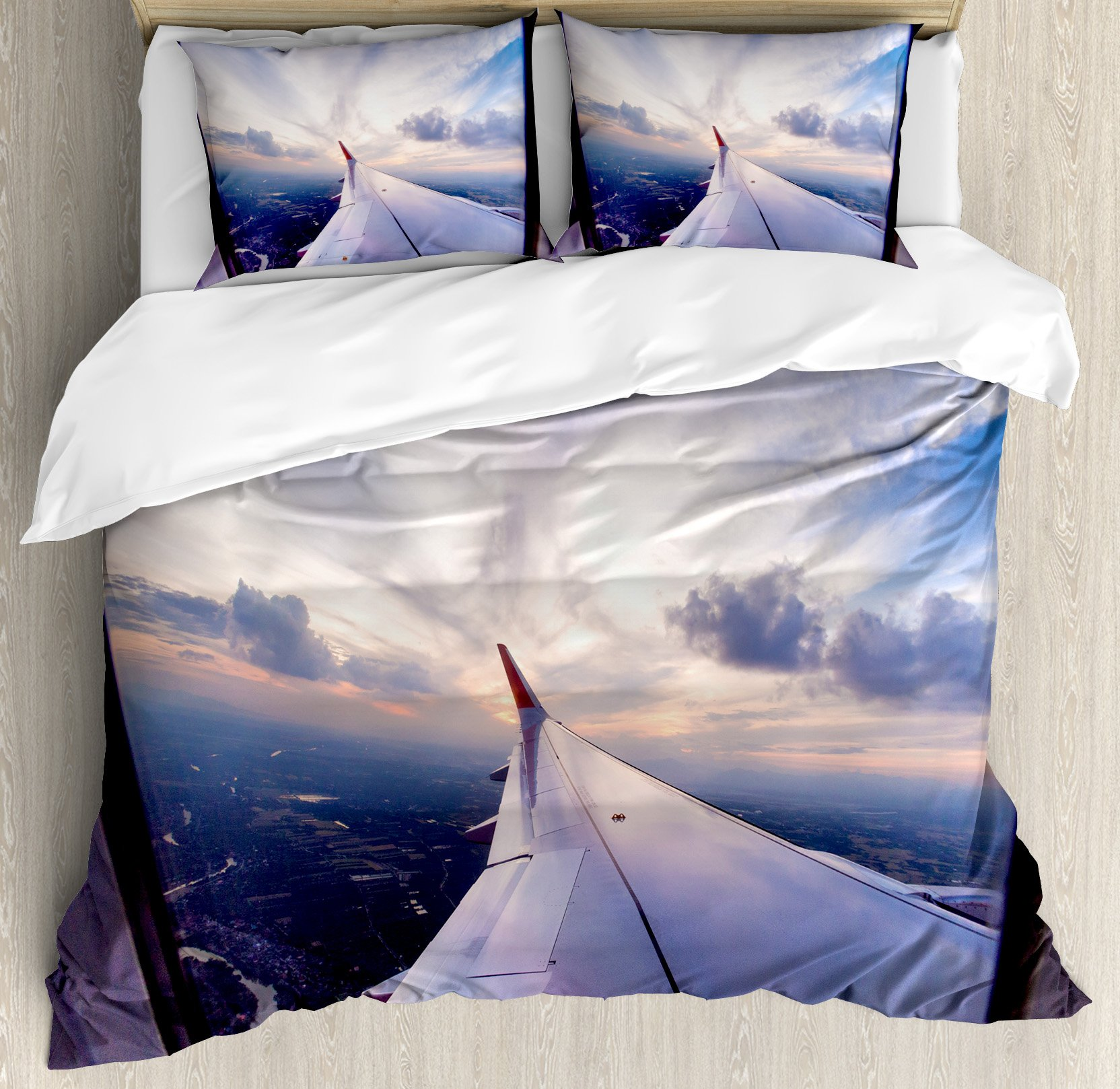 Airplane Decor King Size Duvet Cover Set by Ambesonne, Airplane Travel Time is Sunset Business Distant Evening Float Holiday Horizon Journey Window, Decorative 3 Piece Bedding Set with 2 Pillow Shams