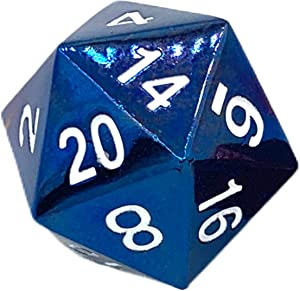 RPG Dice - Metal MTG & DND of D20 Polyhedral Die for Dungeons and Dragons, Magic The Gathering & More - 20 Sided, Solid Metallic, Balanced Feel with Smooth Blue Finish for Playing & Gaming