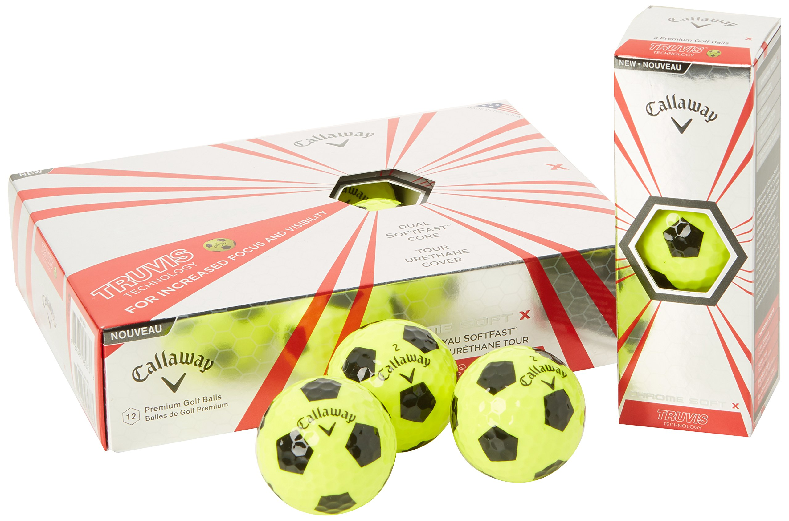 Callaway Chrome Soft X Golf Balls, Prior Generation, (One Dozen), Yellow/Black Truvis Pattern by Callaway