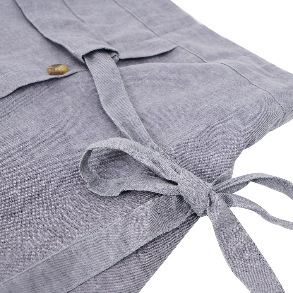 c1a0eebe86 Amazon.com  Amazhiyu Womens Linen Button Front Maxi Skirts with Pockets  Elastic Waist A Line Irregular Overalls Skirt High Low Hem (Grey)  Clothing