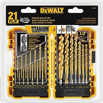 21-Piece Dewalt DW1361 Titanium Pilot Point Drill Bit Set