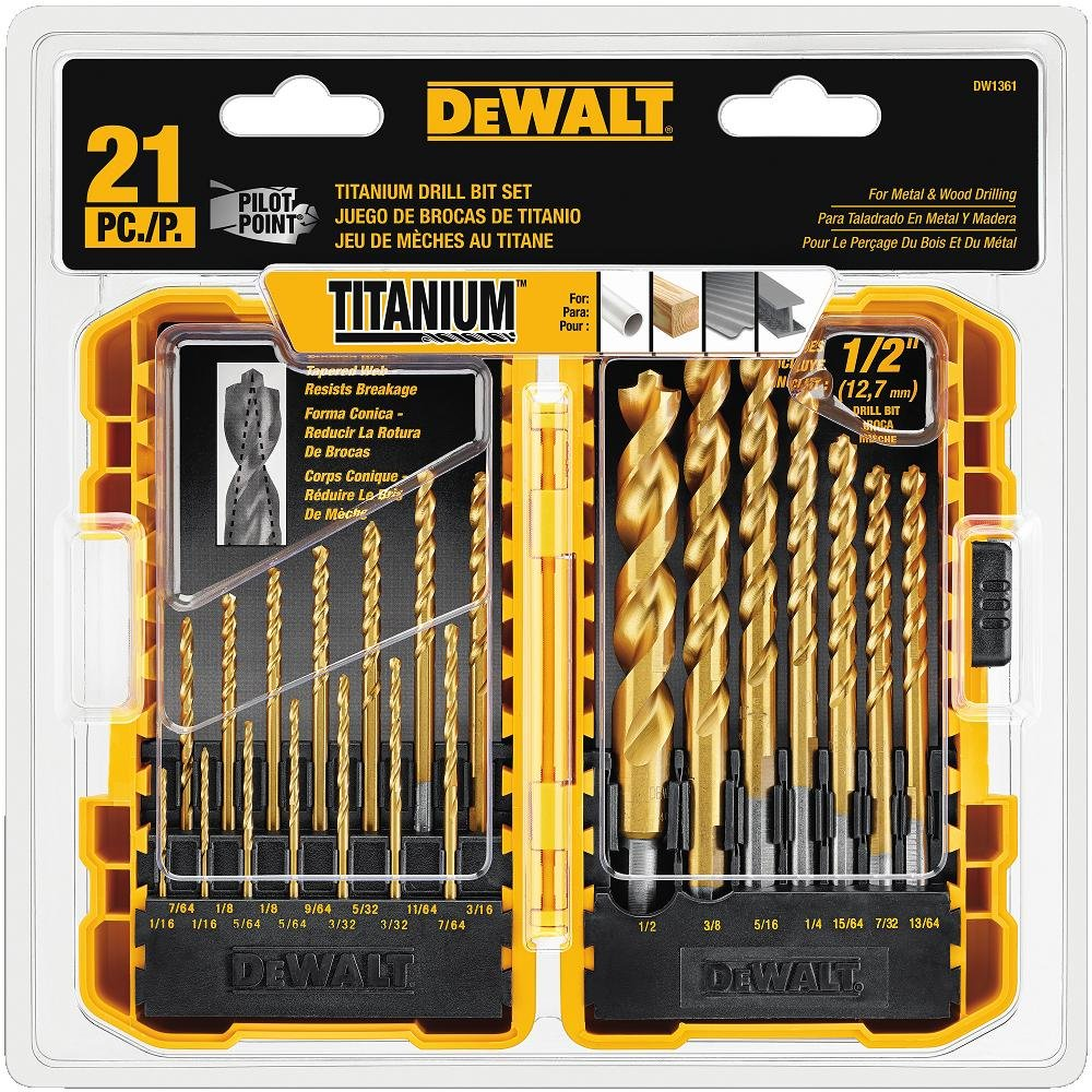 DEWALT Titanium Drill Bit Set, Pilot Point, 21-Piece (DW1361) by DEWALT