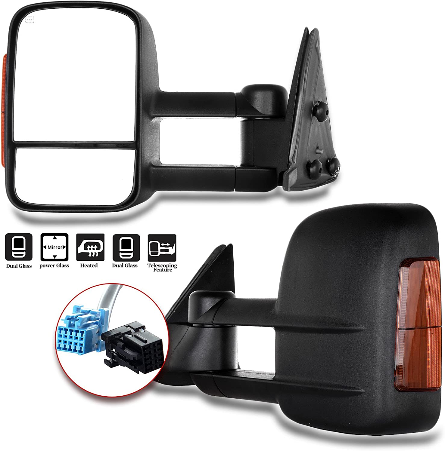 2004 2005 2006 Models 07 Classic Aftermarket Towing Mirrors 2003-2007 Chevy//GMC Silverado//Sierra Power Heated Signal Side Mirror Pair
