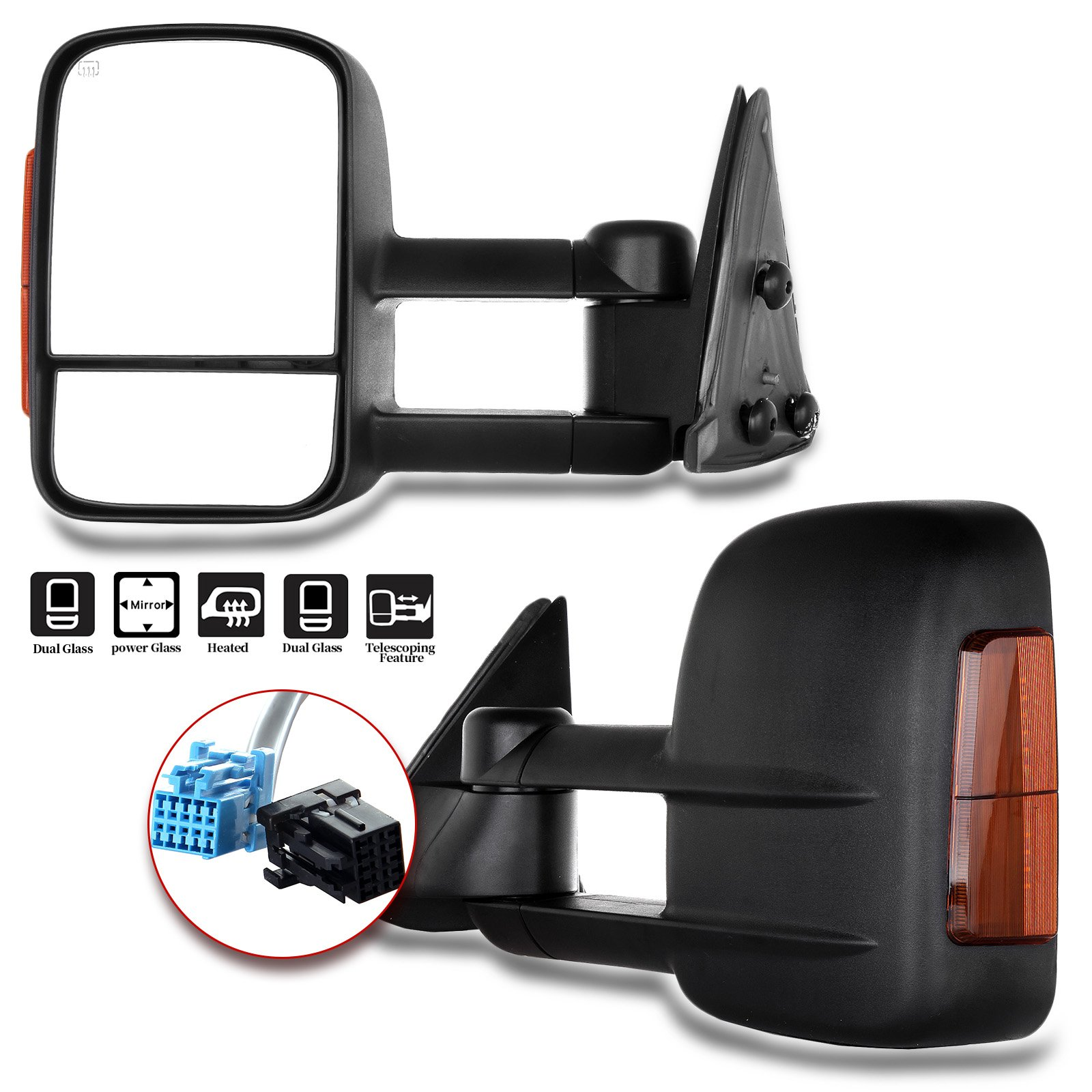 RH+LH Pair of Power Heat Signal Towing Mirrors for Silverado Sierra Tahoe Yukon