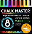 Chalkmaster Liquid Chalk Markers - 8 Color Bright Neon Liquid Chalk Premium Artist Quality Marker Pen Set + 2 FREE Additional 6 mm Reversible Chisel to Bullet Point Tips - 100% Satisfaction Guarantee