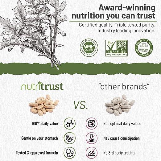 Nutritrust - Tabletas de alta potencia de hierro - contribuyen a reducir la fatiga al tiempo que ayudan en la circulación sanguínea saludable -ayudan a ...