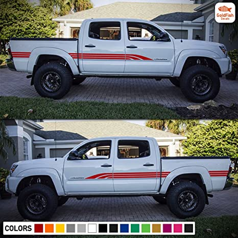 Set of Side Bed Door Stripes Decal Sticker Graphic Compatible with Toyota  Tacoma 2nd 3rd Gen