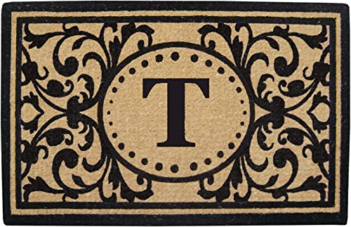 Nedia Home Monogrammed T Heritage Heavy Duty Coco Mat, 30 x 48
