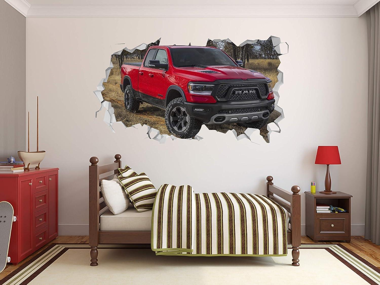 "Dodge RAM 1500 Rebel Wall Hole 3D Decal Vinyl Sticker Decor Room Smashed Tucks Off Road Hemi Decal Decor Sticker Mural Wall Hole 3D Smash Kids Art Vinyl Superheros (36""W x 23""H)"