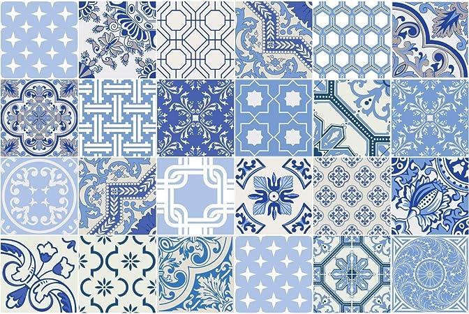 decalmile 10 Pi/èces Stickers Carrelage 15x15cm Bleu et Blanc Carrelage Adh/ésif Mural Cuisine Salle de Bain Carreaux de Ciment Mural D/écoration