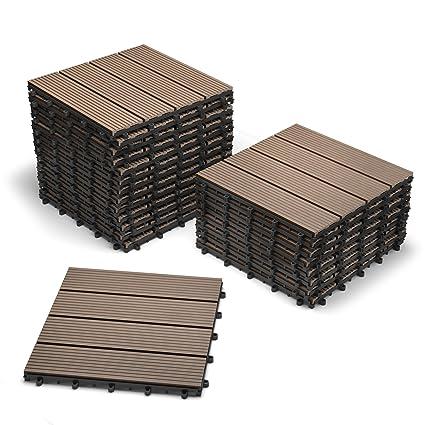 Pavimenti In Plastica Per Terrazzi.Sam Mattonelle In Wpc Ad Incastro Per Terrazzo Set Di 22 Pezzi Di