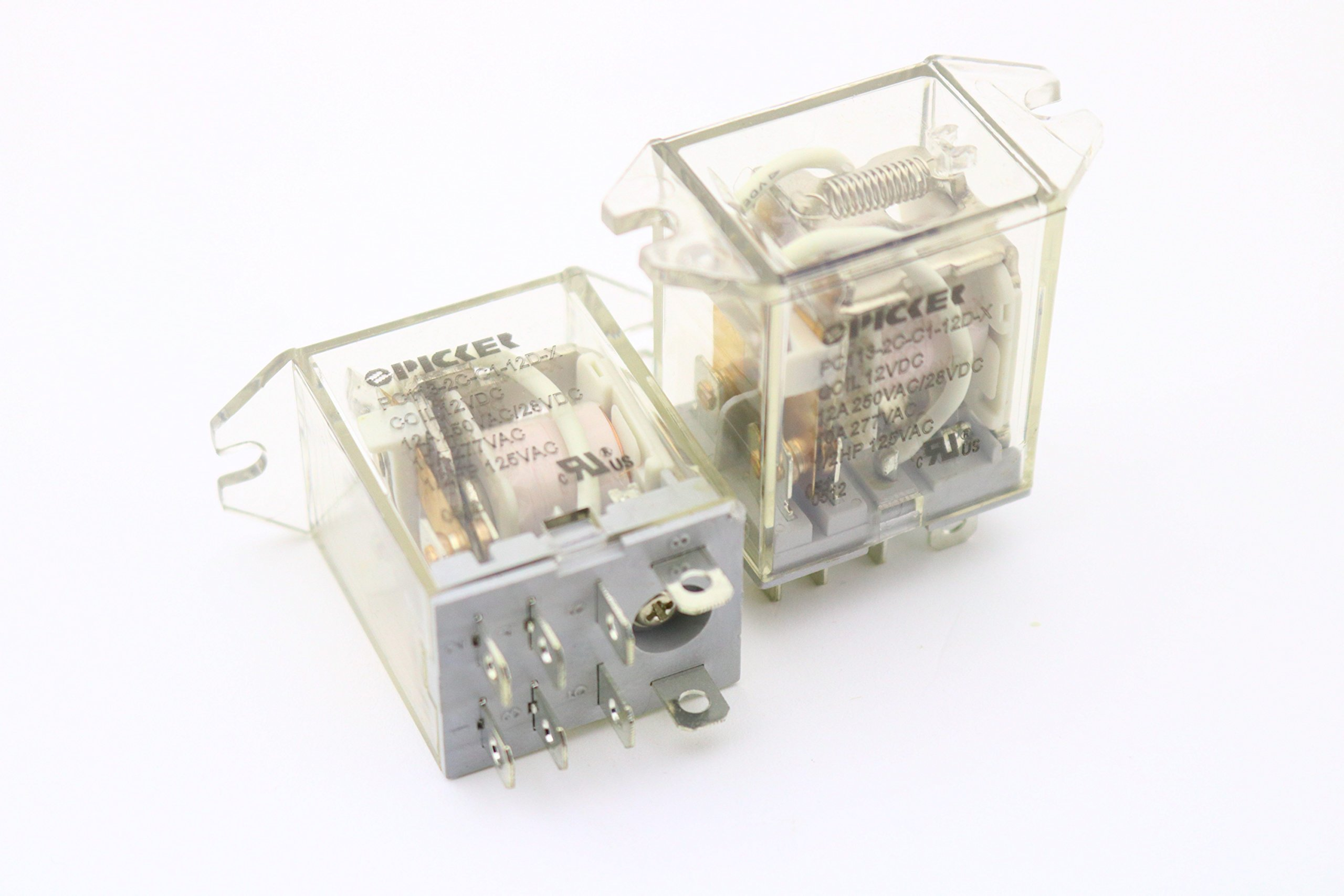 (x2) PC113-2C-C1-12D-X-2 | DPDT 12 VDC Coil 12 Amp 250 VAC UL Rated, Miniature General Purpose Ice Cube Relay w/Clear Plastic Top Flange Mounting Case | Cross: Song Chuan SCL-DPDT-C1-12VDC