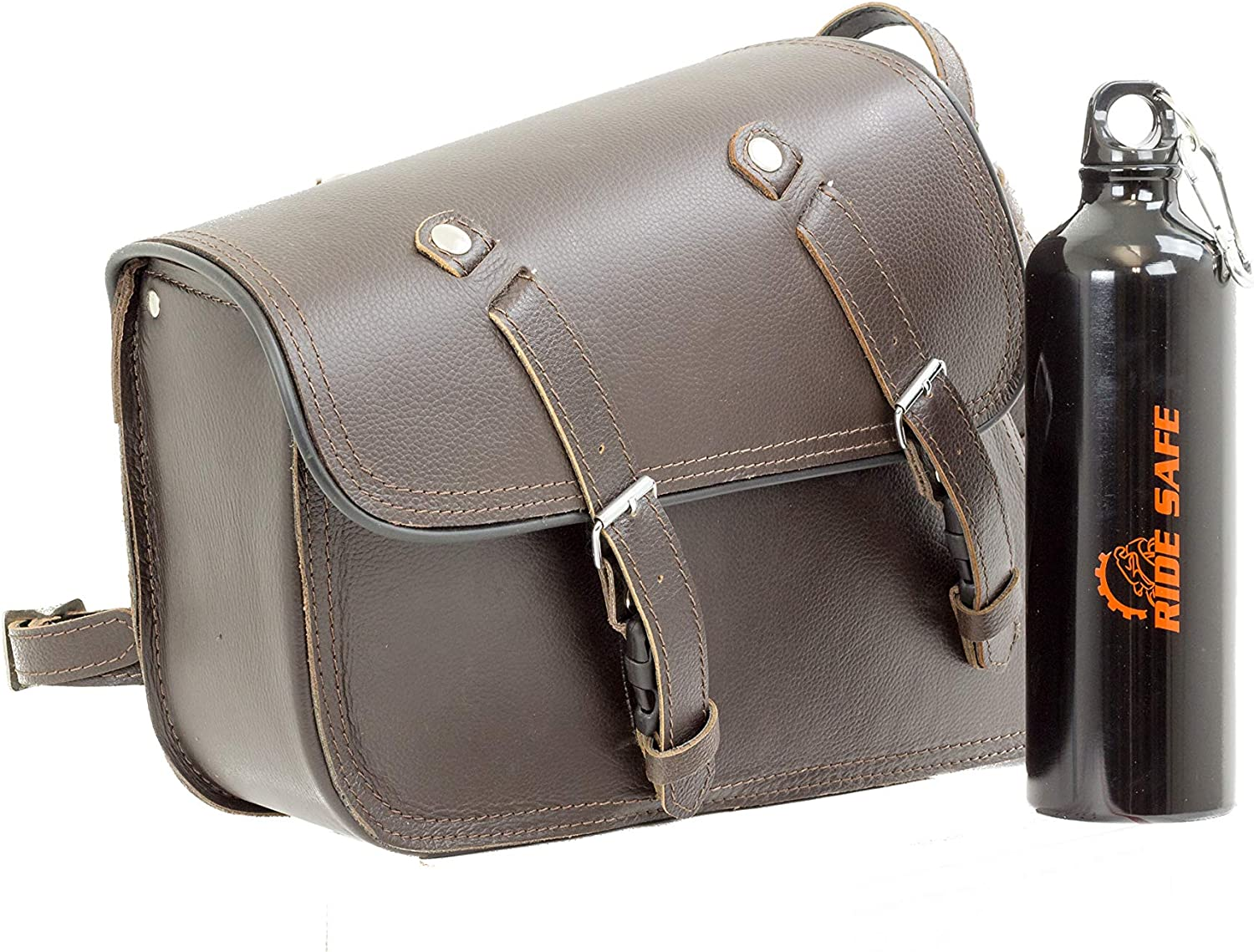 Sturgis Leather Black Swing Arm Side Solo Bag for Motorcycles with Bottle Holder