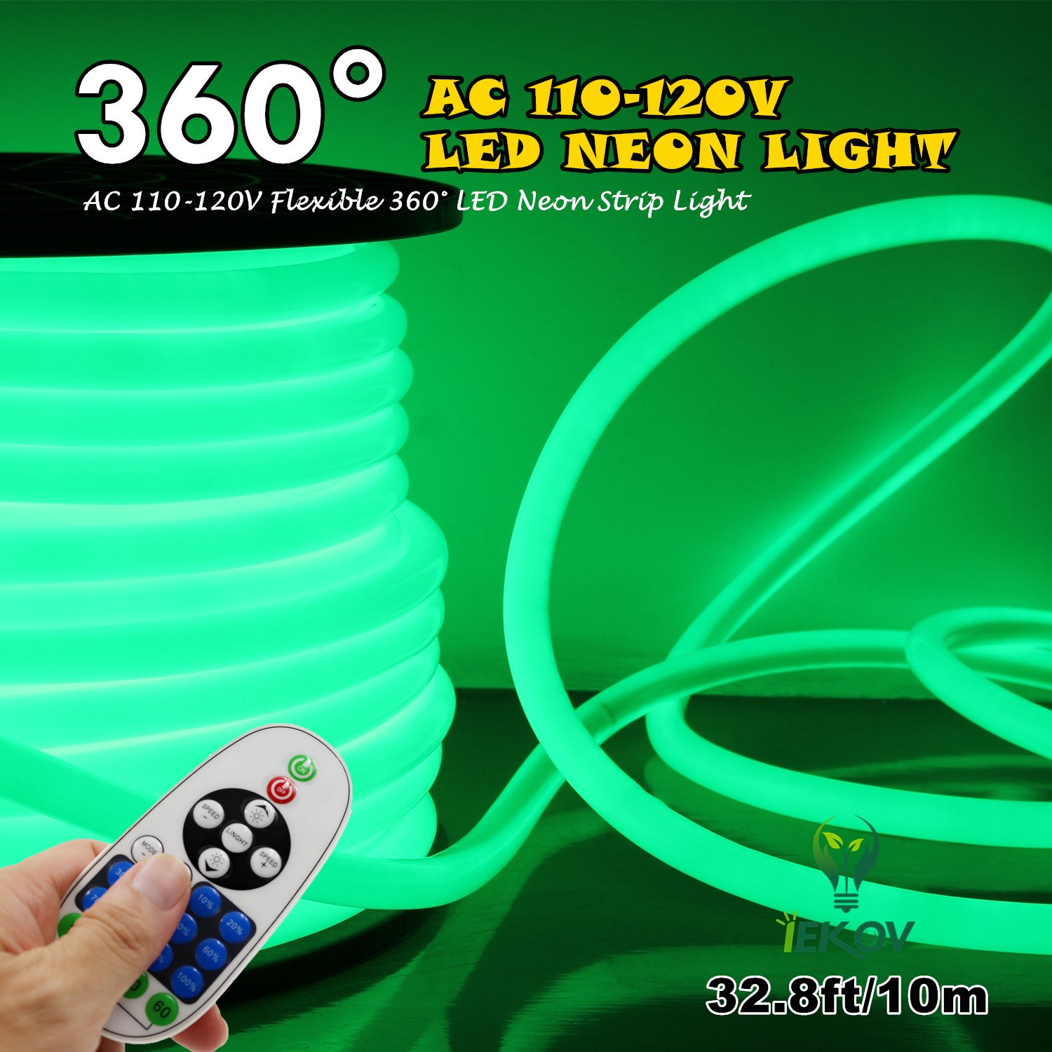 [Upgrade] 360° LED NEON Light, IEKOVTM AC 110-120V Flexible 360 Degree LED Neon Strip Lights, Dimmable & Waterproof NEON LED Rope Light + Remote Controller for Decoration (32.8ft/10m, Green)