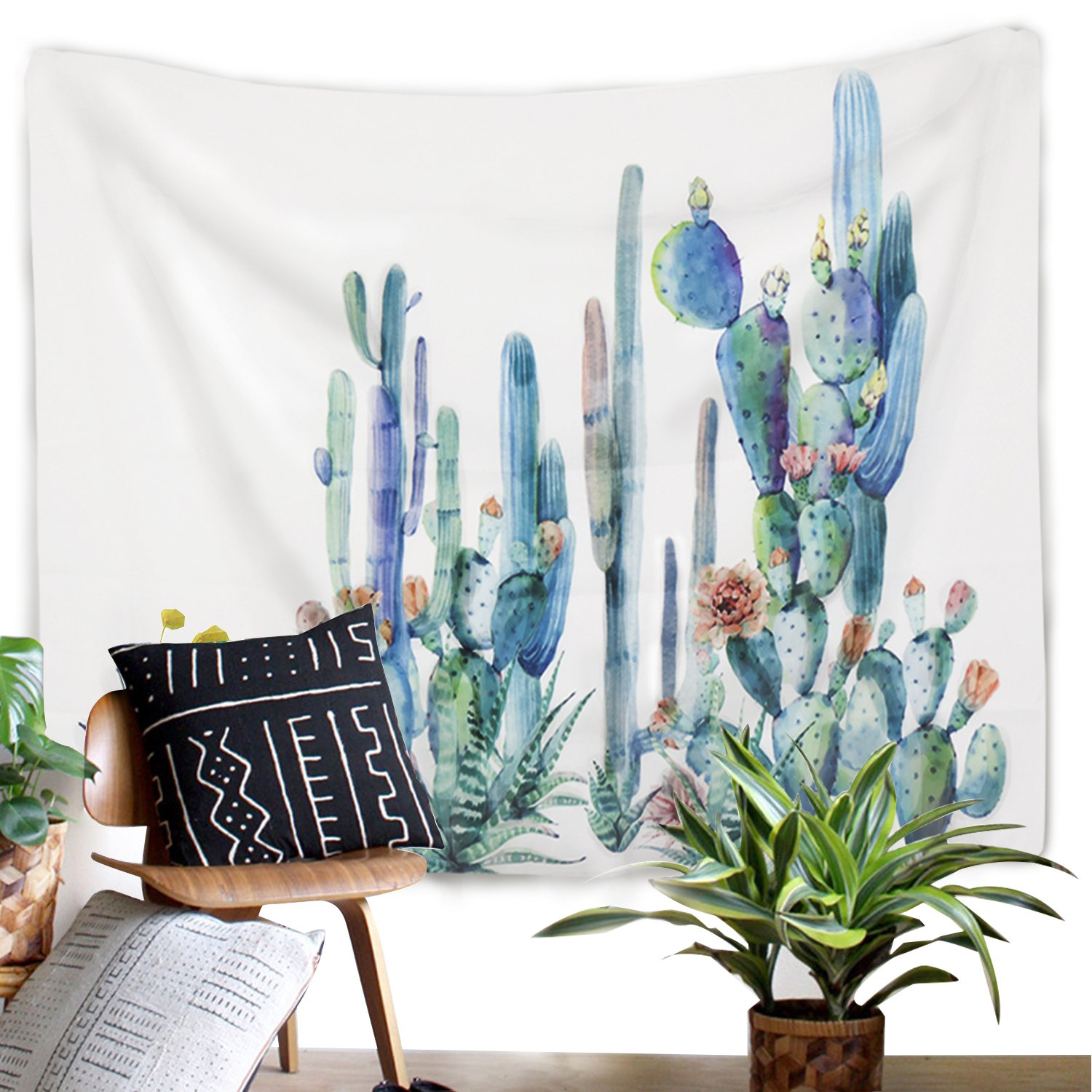 Sunm Boutique Cactus Landscape Tapestry Wall Hanging Cactus Plant Printed Tapestry Cactus Watercolor Tapestry Cactus Wall Tapestry Jonefly
