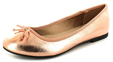 e1d4269ce79 Platino Ladies Womens Rose Gold Ballerina Pumps Shoes with Bow Detail - Rose  Gold