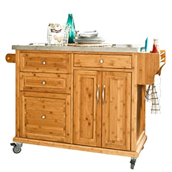 SoBuy XXL Kitchen Trolley with Big Storage Cabinet, Kitchen Island ...