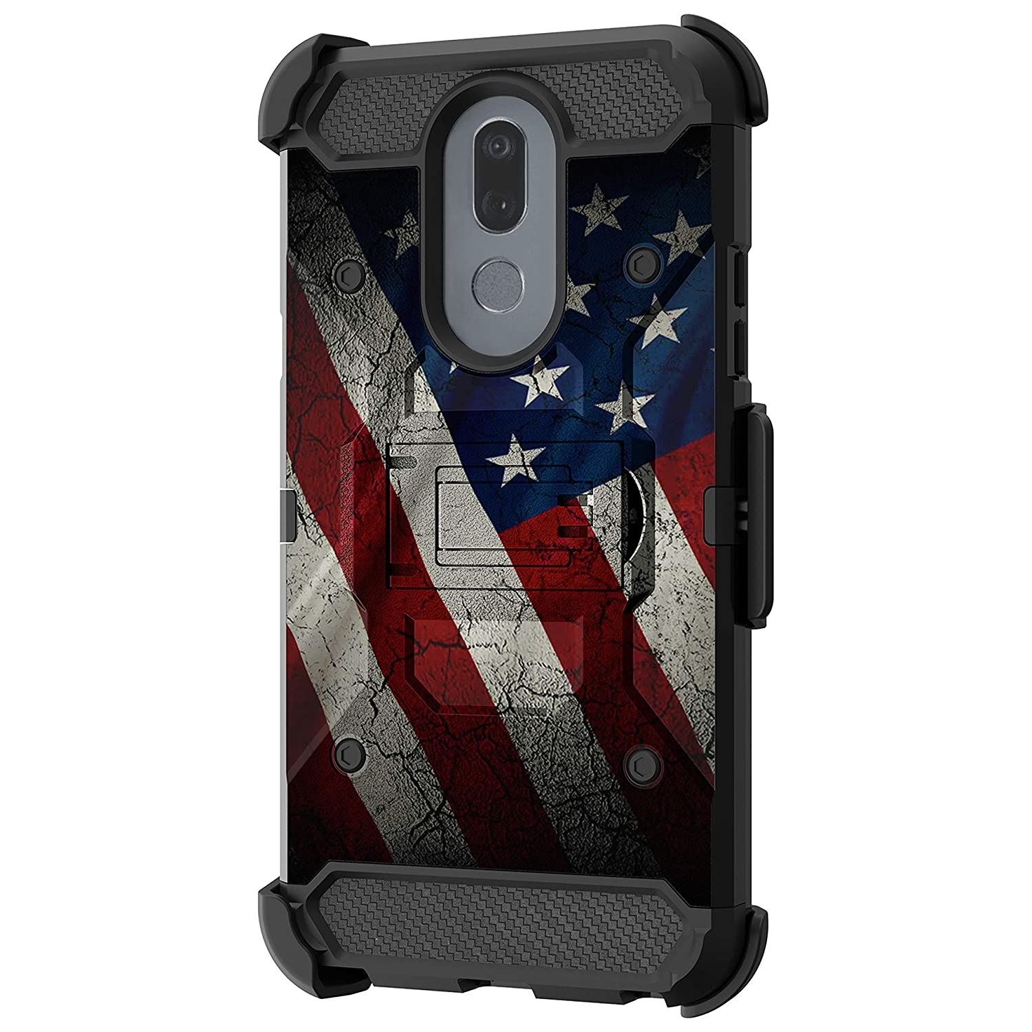 TurtleArmor | Compatible with LG Stylo 5 Case | Stylo 5 Plus Case | Stylus 5 Case [Armor Pro] Heavy Duty Full Body Armor Hybrid Kickstand Rugged Cover Holster Belt Clip Case - American Flag