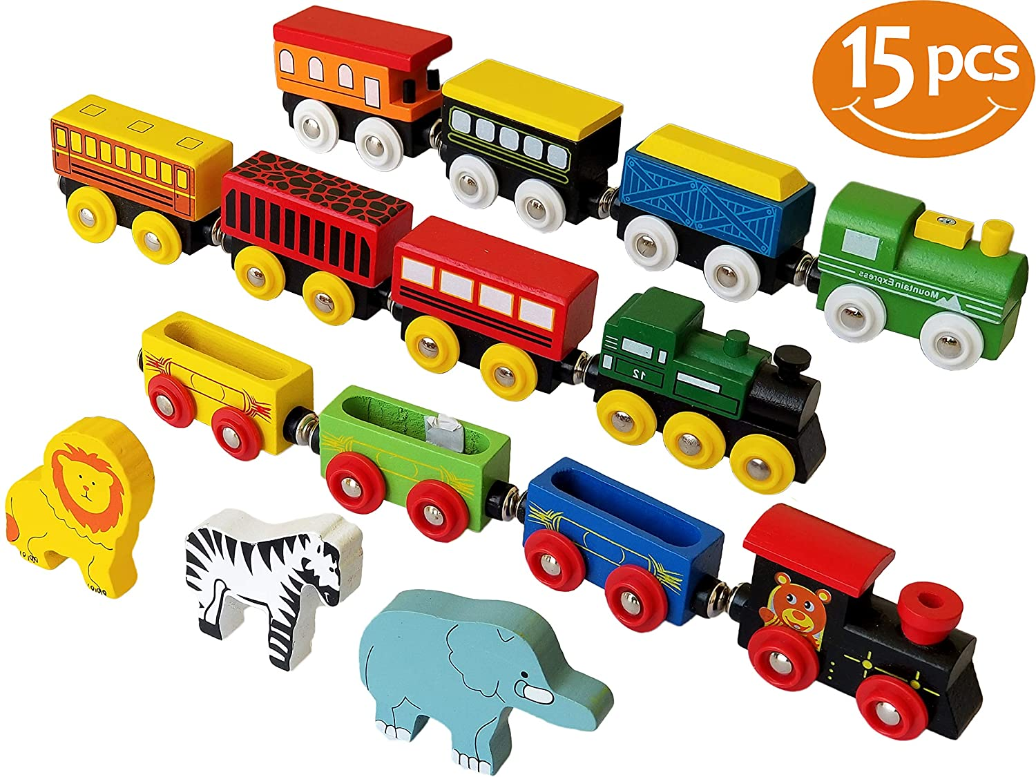 ToysOpoly Wooden Train Set 12 PCS Magnetic Engines With 3 Bonus Animals Deluxe Toys For Kids Toddler Boys and Girls Compatible to Thomas Railway Brio Tracks and Major Brands