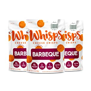 Whisps Barbeque Cheddar Cheese Crisps | Back to School Snack, Keto Snack, Gluten Free, Low Sugar, Low Carb, High Protein | 2.12oz (3 Pack)