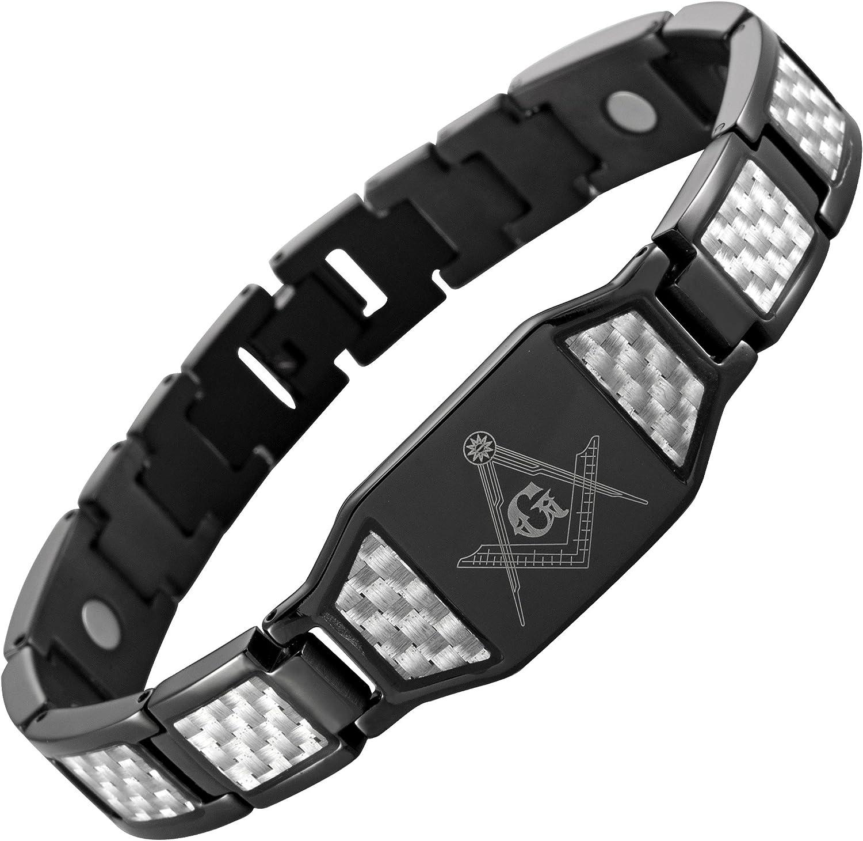 MasonicMan Men's Black Titanium Masonic Bracelet with Silver Carbon Fiber Adjustable