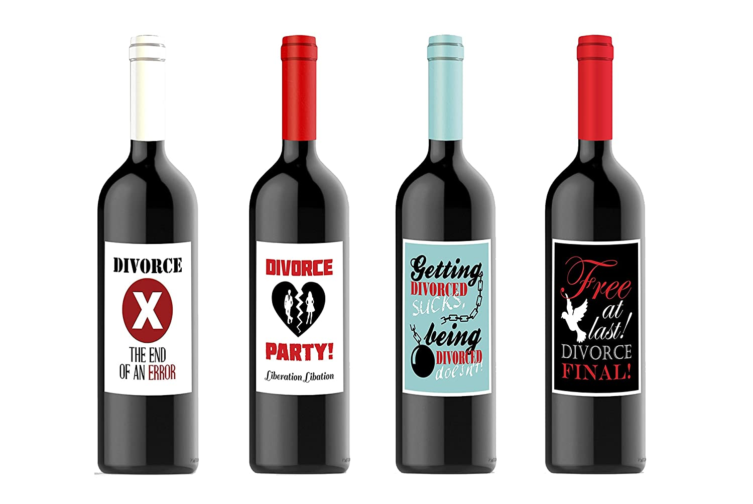 Divorce Party Celebration Custom Wine Labels for Four (4) Bottles 4.25 x 5.5 Each By Definition EBE-DWN