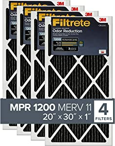 Filtrete 20x30x1, AC Furnace Air Filter, MPR 1200, Allergen Defense Odor Reduction, 4-Pack (exact dimensions 19.81 x 29.81 x 0.81)