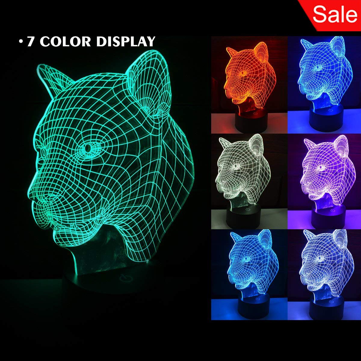 3D Leopard Touch Table Lamp, 7 Color Changing Desk Table Night Light Lamp for Children Bedroom Home Decoration Halloween Christmas Gift